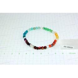 Csakra karkötő, színezett fazettált Achát, fazettált üveg KK00033