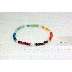 Csakra karkötő, színezett fazettált Achát, fazettált üveg KK00034